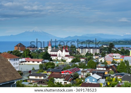 View of the city of Puerto Varas and Llanquihue lake and Osorno volcano (Chile) - stock photo