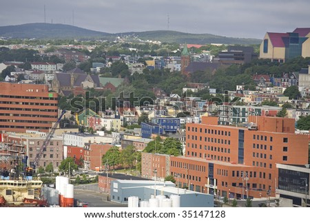 View of the city of St. John's, Newfoundland, Canada. - stock photo