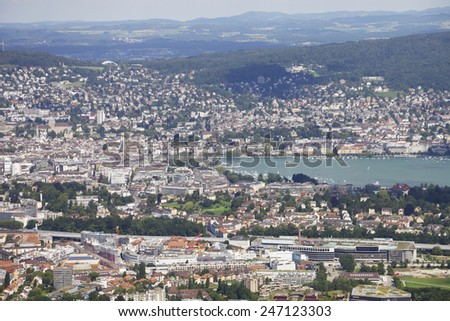 View of the city of Zurich from Uetliberg hill. - stock photo