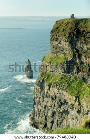 View of the cliffs on the west coast of Ireland - stock photo