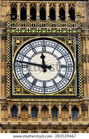 View of the Clock Face of Big Ben at the Houses of Parliament in London - stock photo