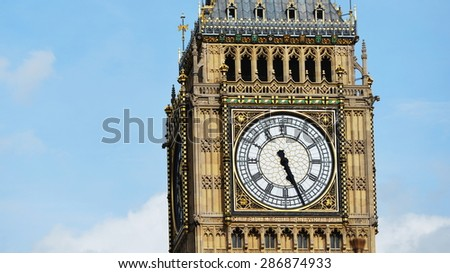 View of the Clock Face of Big Ben at the Houses of Parliament in Westminster London - stock photo
