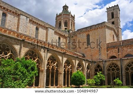 view of the cloister of Monastery of Santa Maria de Santes Creus, Spain - stock photo
