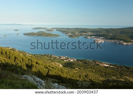 View of the coast around the island of Korcula at dusk, Croatia. - stock photo