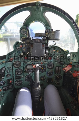 View of the cockpit of the famous Mig-21 fighter - stock photo
