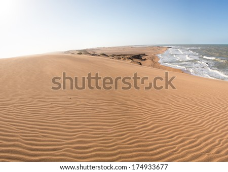 View of the Colombian coastline in La Guajira near Punta Gallinas, Colombia 2014. - stock photo