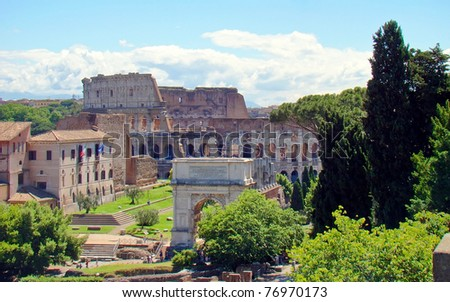View of the Colosseum (Colosseo), an elliptical amphitheatre in Rome, Italy. It's the largest ever built in the Roman Empire and is considered one of the greatest works of Roman architecture. - stock photo