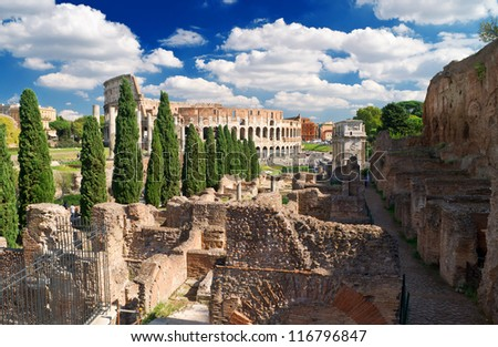 View of the Colosseum from the Palatine Hill, Rome - stock photo