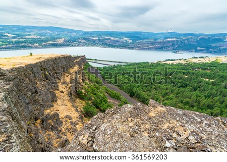 View of the Coyote Wall hike in Washington with Mt Hood visible in the background - stock photo