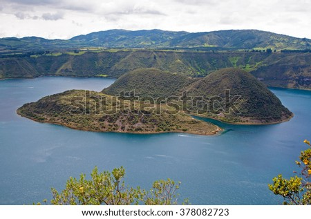View of the Cuicocha lake and volcano crater, with its center islands. Cuicocha, Ecuador, South America. - stock photo