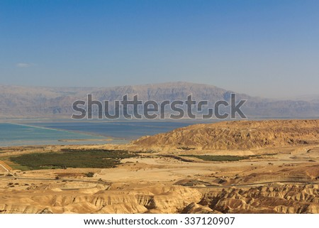 View of the Dead Sea and the mountains of Jordan - stock photo