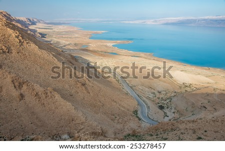 view of the Dead Sea from the Judean desert, west bank - Israel - stock photo