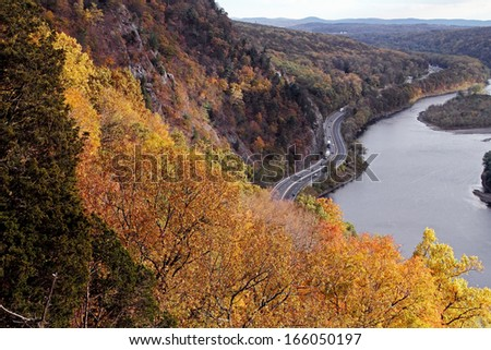 View of the Delaware River and interstate 80 from on top of Mount Tammany in New Jersey - stock photo