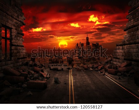View of the destroyed city - stock photo