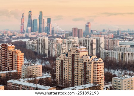 view of the development of Moscow winter evening - stock photo