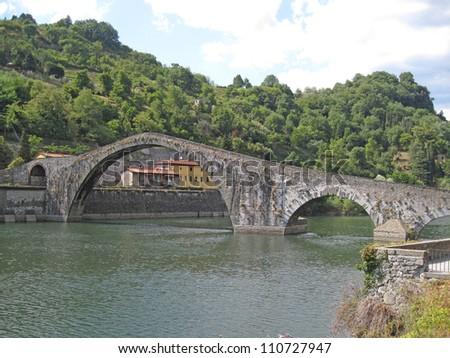 View of the Devil's Bridge in Borgo a Mozzano, Lucca - stock photo