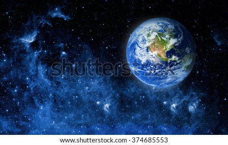 View of the earth from the moon. Elements of this image furnished by NASA - stock photo