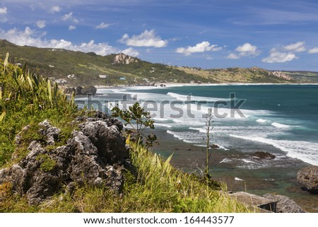 View of the eastern coast of Barbados showing the beach at Bathsheba. Focus on foreground. - stock photo