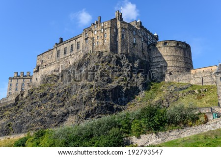 view of the Edinburgh Castle, Scotland, UK - stock photo