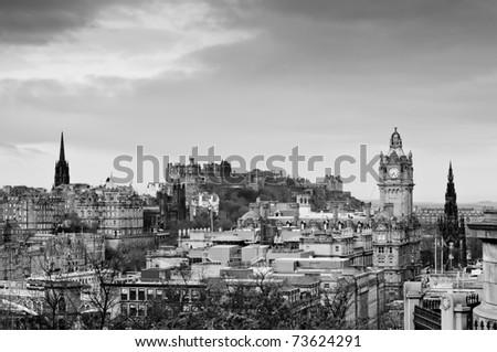 View of the Edinburgh city skyline, Scotland - stock photo