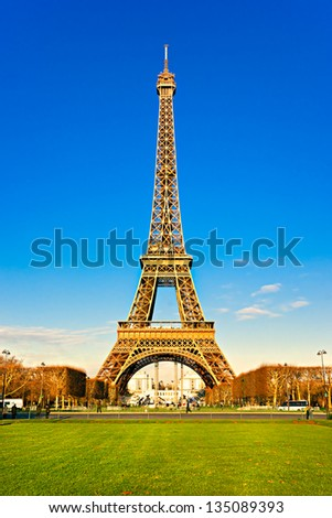 View of the Eiffel tower at sunrise, Paris. - stock photo