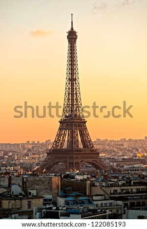 View of the Eiffel tower at sunset, Paris. - stock photo