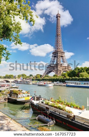 View of the Eiffel tower from the river Seine, Paris - stock photo