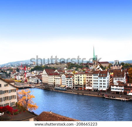 View of the embankment and Limmat river in Zurich, Switzerland - stock photo