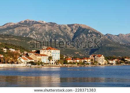 View of the embankment of Tivat, Montenegro - stock photo