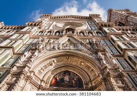 View of the entrance doors to the Duomo Santa Maria Del Fiore and Bargello. Florence, Tuscany, Italy - stock photo