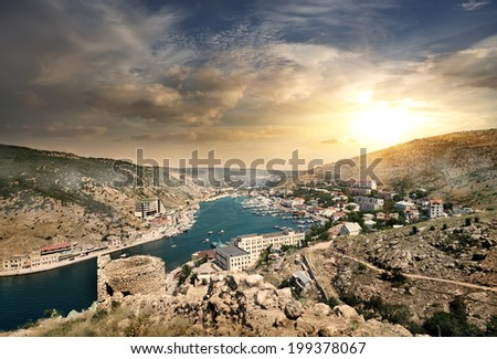 View of the evening of Balaklava in Crimea - stock photo