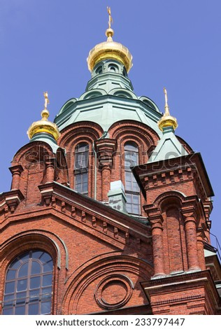 View of the Exterior of the Uspenski Orthodox Cathedral in Helsinki, Finland - stock photo