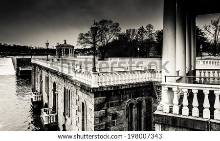 View of the Fairmount Water Works and the Schuylkill River in Philadelphia, Pennsylvania. - stock photo