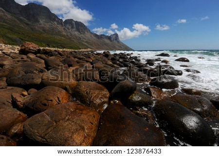 View of the False Bay coast line between Betty's Bay and Strand - stock photo