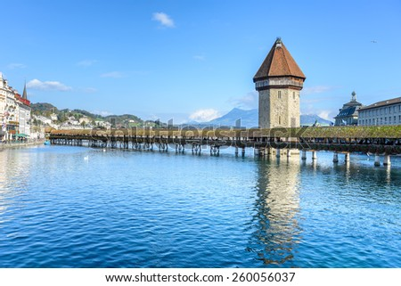View of the famous Chapel Bridge in Lucerne, Switzerland - stock photo