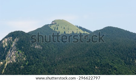 """View of the famous mountain """"Jochberg"""" in the Alps of Bavaria - stock photo"""