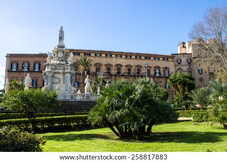 view of the famous Palazzo dei Normanni, Royal Palace,  in Palermo - stock photo