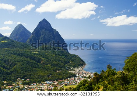 View of the famous Piton mountains in St Lucia - stock photo