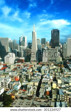 View of the famous San Francisco: downtown and skyline in afternoon light in HDR - stock photo
