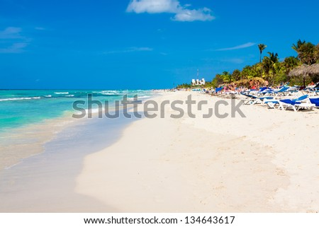 View of the fhe famous Varadero beach in Cuba on a sunny summer day - stock photo