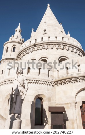 view of the Fisherman Bastion in Buda, Budapest, Hungary - stock photo