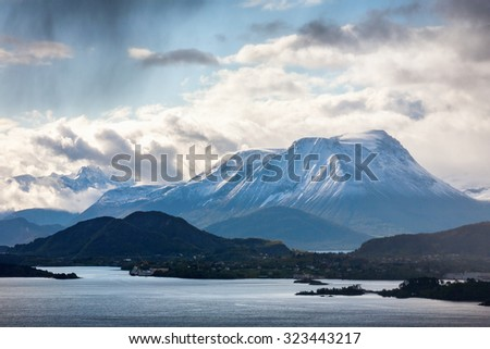 View of the fjords and mountains in Norway - stock photo