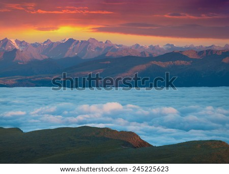 View of the foggy Val Gardena valley. National Park Odle Geisler. Dolomites, South Tyrol. Location Ortisei, S. Cristina and Selva Gardena. Italy, Europe. - stock photo