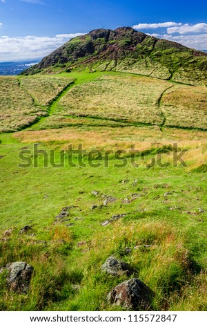 View of the footpath to the Arthur Seat in Edinburgh - stock photo