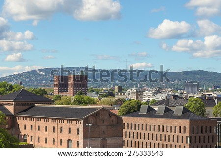 View of the fortress Akershus, Oslo, Norway - stock photo