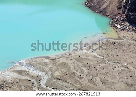 View of the fragment of the acid lake in volcanic crater. One of the most beautiful tourist destinations of the Kamchatka Peninsula - stock photo