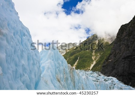 View of the Franz Joseph glacier in New Zealand, South Island. - stock photo