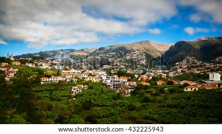 view of the Funchal's suburb, Madeira island, Portugal - stock photo