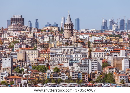 View of the Galata tower, Istanbul, Turkey - stock photo