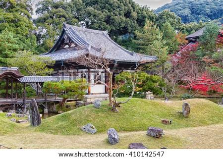 View of the gardens and pavilions at Kodai-ji temple in Kyoto, a temple of the Rinzai school of Zen Buddhism in Higashiyama-ku. - stock photo
